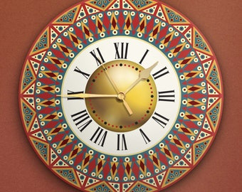 """Round Wall Clock Acrylic Glass  """"Ethnic"""" Silent Non Ticking Battery Operated Decorative for Living Room Kitchen Home Office, 12 Inch"""