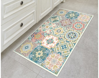 TIVA DESIGN Venetian Beauty Vinyl Floor Mat, Decorative Linoleum PVC Rug Runner Tile Flooring, Anti-Slip, Hand Washable, and Protects Floors