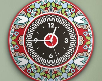 """Round Wall Clock Acrylic Glass  """"Wild Red"""" Silent Non Ticking Battery Operated Decorative for Living Room Kitchen Home Office, 12 Inch"""