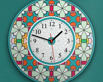 """Round Wall Clock Acrylic Glass  """"Memphis Art"""" Silent Non Ticking Battery Operated Decorative for Living Room Kitchen Home Office, 12 Inch."""