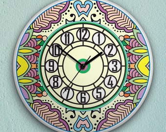 """Round Wall Clock Acrylic Glass  """"Vanilla Secret Garden"""" Silent Non Ticking Battery Operated Decorative for Living Room Kitchen Home  12 Inch"""