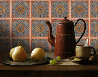 Tiles Peel and Stick stickers ,for tiles, Wall  for the  Kitchen, Bathroom, Backsplash. DIY, waterproof.  Morocco by TIVA DESIGN
