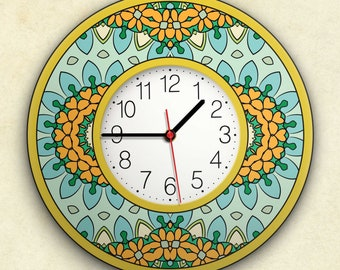 """Round Wall Clock Acrylic Glass  """"Sunshine"""" Silent Non Ticking Battery Operated Decorative for Living Room Kitchen Home Office, 12 Inch."""