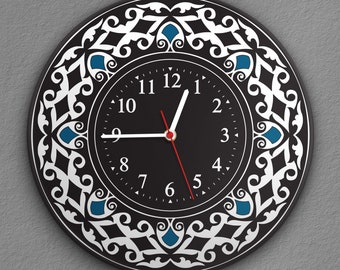 """Round Wall Clock Acrylic Glass  """"Ancient Beauty"""" Silent Non Ticking Battery Operated Decorative for Living Room Kitchen Home Office, 12 Inch"""