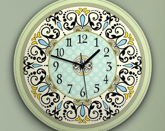 """Round Wall Clock Acrylic Glass  """"Wonderland"""" Silent Non Ticking Battery Operated Decorative for Living Room Kitchen Home Office, 12 Inch."""