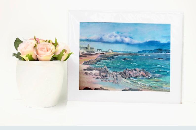 Iona Abbey fine art print scottish living room wall art decor blue coastal wall art