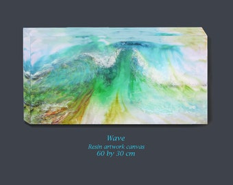 Large wave canvas, resin canvas painting, modern cottage wall deco, Hygge deco painting, ocean resin art