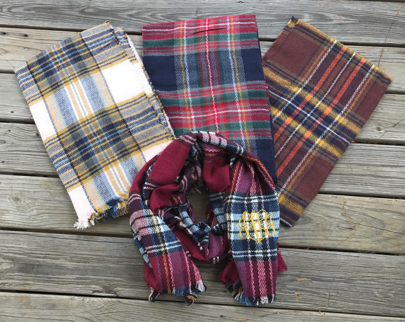 60cebe49e7b49 Plaid Blanket Scarf Monogrammed 80x25 wool neck wrap red navy | Etsy