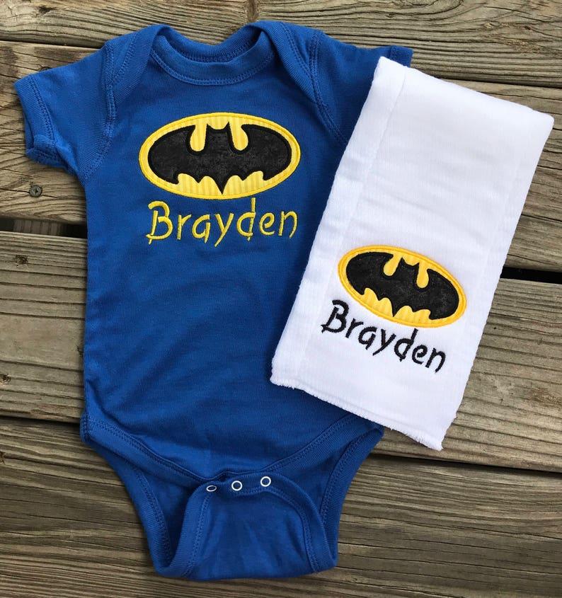 9489510c Batman onesie and burp cloth set boy girl baby gift yellow | Etsy