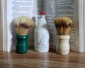 Vintage 1997 RARE Old Spice Eau de Cologne Two Boar or Badger Hair Shaving Brushes LOT of 3 Bakelite Handles, Milk Glass Bottle 80 Full