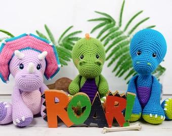 dinosaur crochet pattern, crochet dinosaur, t-rex crochet pattern, brontosaurus crochet pattern, triceratops crochet pattern