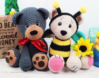 bear crochet pattern, bee crochet pattern, crochet bear, crochet pattern, crochet bear, amigurumi, black bear, bee, bee pattern, crochet bee