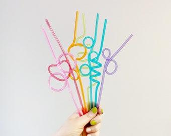 Reusable Silly Straw, Colorful Straw, Rainbow Colored Straw, Wacky Straw, Crazy Straws, Colorful Straws, Random Straws