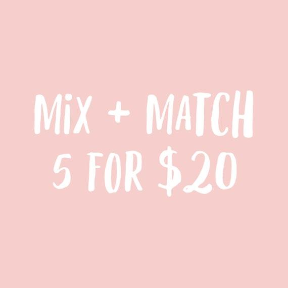 Mix Match Bundle Any 5 Greeting Cards Birthday