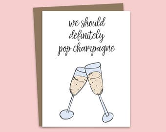 Pop Champagne, Congratulations Card, Engagement Card, Big Deal, Graduation Card, Good Luck Card, Celebration Card, Illustrated Greeting Card