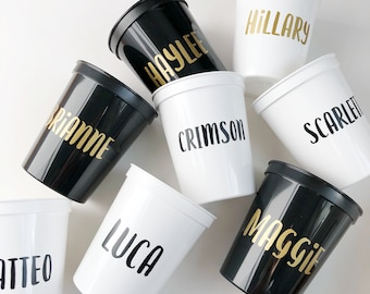 Reusable Plastic Stadium Cup, Name Cup, Custom Cup, Personalized Cup, Personal Gift, Bridal Shower, Valentines Day, Personal Name Cup