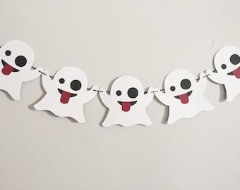 Ghost Emoji Banner, Emoji Party, Halloween Emoji, Party Decorations, Ghost Banner, Ghostbusters Party, Ghost Garland, Mantle Decor