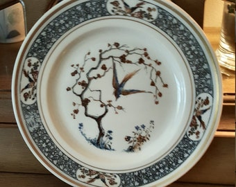 4 Vintage Lunch Plates Ivory Lamberton Scammell China Blue Band Birds Bossert Hotel