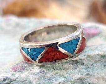 Zuni Inlay Silver Ring Turquoise Red Coral Obsidian Sz 6.5