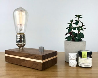 table lamp Edison bulb chalet,vintage button modern Minimalist lamp pine birch Scandinavian small stainless wood christmas small