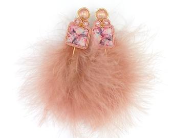 Long feather earrings, pink soutache earrings, tropical earrings, lightweight statement earrings, fluffy earrings, gift for her.