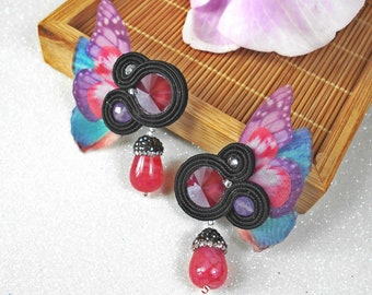 Butterfly earrings, colourful earrings, soutache earrings, handmade jewelry, Swarovski earrings, handmade earrings, soutache jewelry.