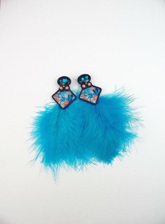 beach jewelry Red turquoise earrings soutache earrings Summer earrings