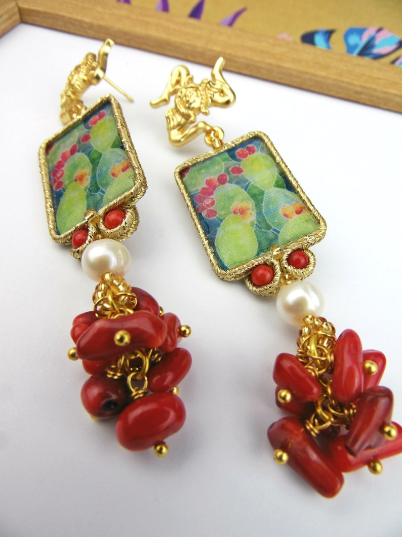 Sicilian earrings with bamboo coral and natural pearls prickly pear earrings.