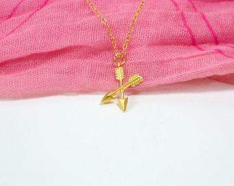 Arrow necklace gold, Arrow necklace, Gold arrow necklace, Double arrow necklace, Weapon necklace, Tiny arrow necklace gold, Archery necklace