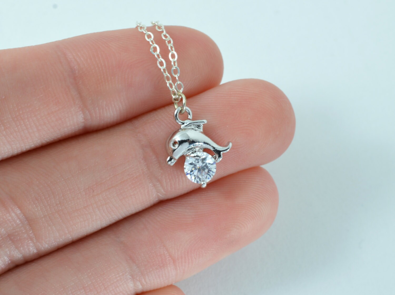 Silver dolphin necklace Dolphin necklace silver Fish