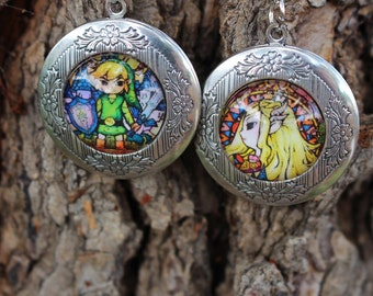 Link and Zelda Locket Set