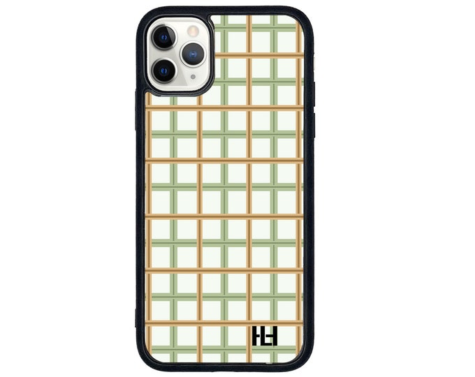 Plaid checkered iPhone case with soft rubber sides and Tempered glass top (choose colour & size)