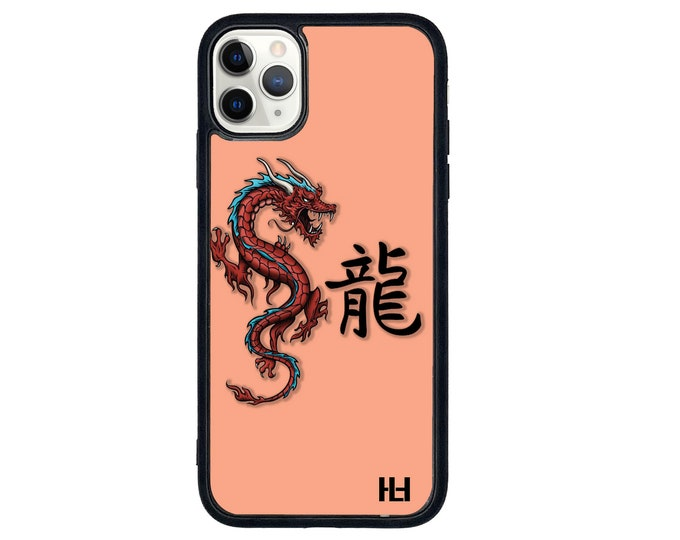 Dragon chinese text dusk orange iPhone case with soft rubber sides and Tempered glass top