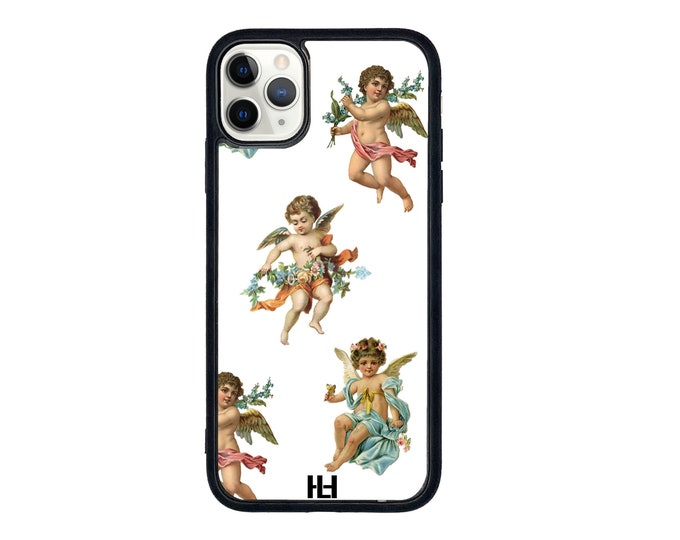Angel Amor print iPhone case with soft rubber sides and Tempered glass top with available colours & iPhone models