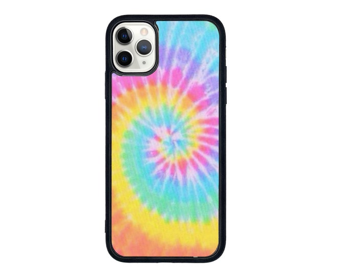 Tie dye print iPhone case with soft rubber sides and Tempered glass top with available colours & iPhone models