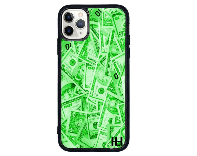 Green dollar splash cash iPhone case with soft rubber sides and Tempered glass top