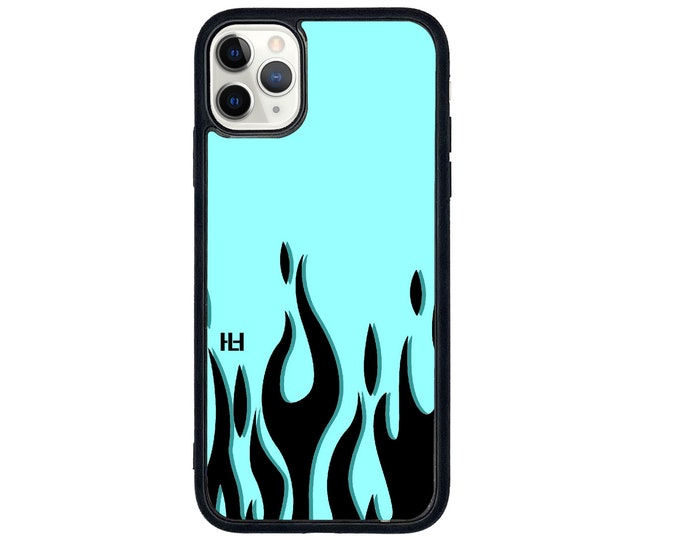 Flame print inspired iPhone case with soft rubber sides and Tempered glass top (choose colour & size)