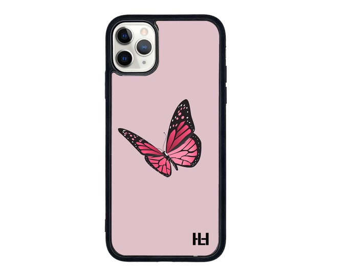 Pink butterfly iPhone case with soft rubber sides and Tempered glass top