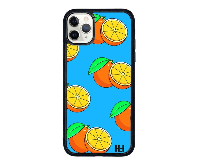 Orange fruit blue background iPhone case with soft rubber sides and Tempered glass top