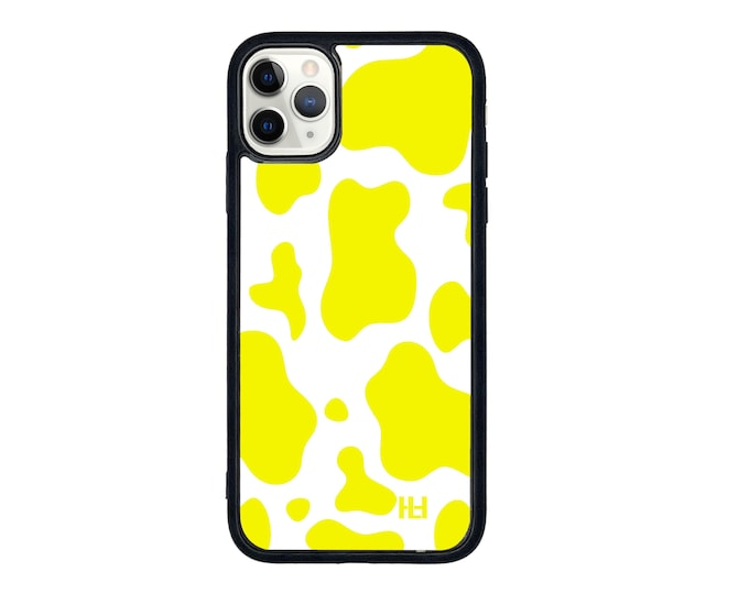 Yellow cow print Moo iPhone case with soft rubber sides and Tempered glass top