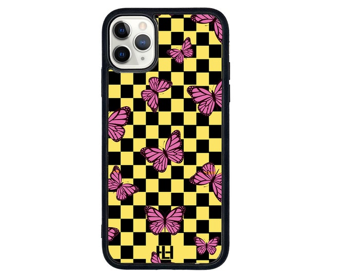 Checkered butterfly iPhone case with soft rubber sides and Tempered glass top (choose colour & size)