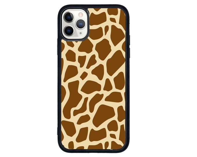 Giraffe print pattern iPhone case with soft rubber sides and Tempered glass top