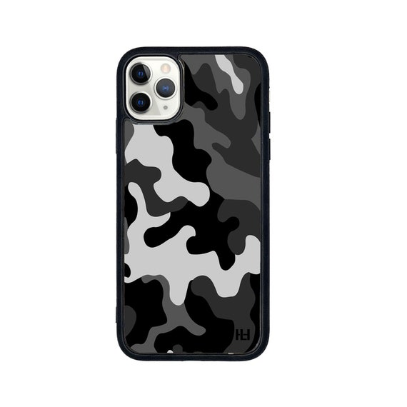 Army camouflage print iPhone/Samsung/Huawei case with soft rubber sides and Tempered glass top (Choose your model and colour)
