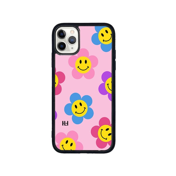 Smiling flower print iPhone/Samsung/Huawei case with soft rubber sides and Tempered glass top