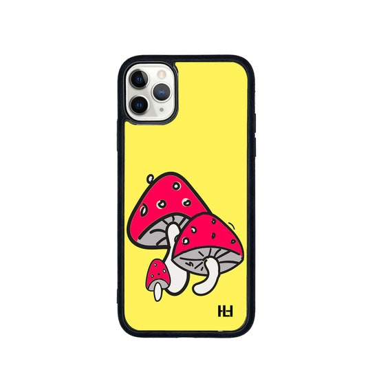 Shroom/mushroom print iPhone/Samsung/Huawei case with soft rubber sides and Tempered glass top