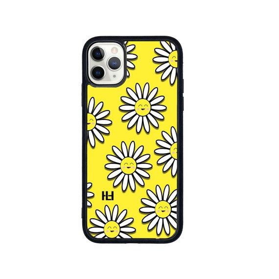 White flower print iPhone/Samsung/Huawei case with soft rubber sides and Tempered glass top