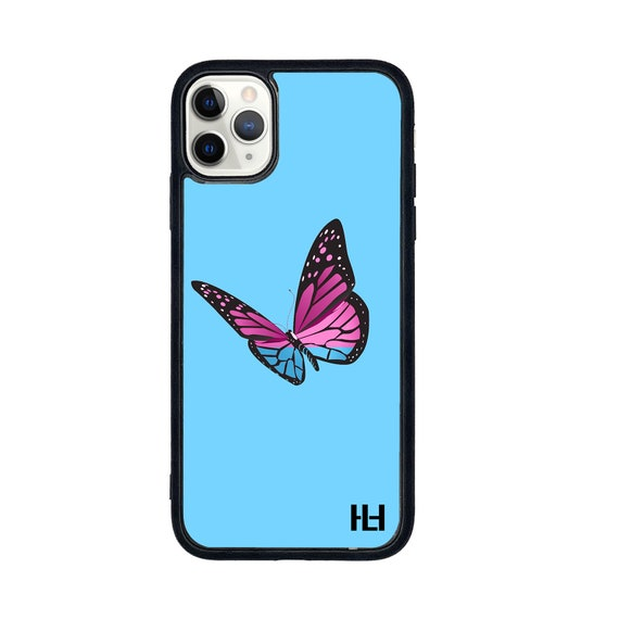 Blue Single butterfly print iPhone/Samsung/Huawei case with soft rubber sides and Tempered glass top (Choose your model)