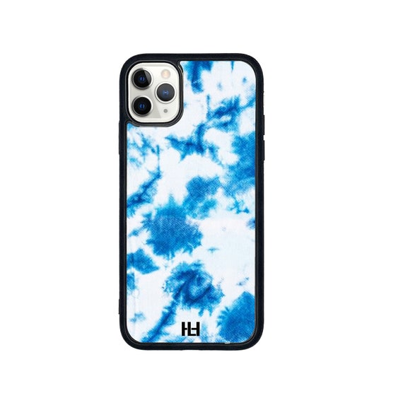 Blue Tie dye print iPhone/Samsung/Huawei case with soft rubber sides and Tempered glass top