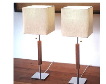 "Mid-century modern bedroom table lamps, chrome, linen, walnut, ""Valet"" single or bedside pair cost 135 Each, made new in Los Angeles"