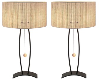 Table lamps etsy modern table lamp black wrinkle base oval willow woven paper shade pair for bedside or single cost 155 each made in los angeles aloadofball Image collections